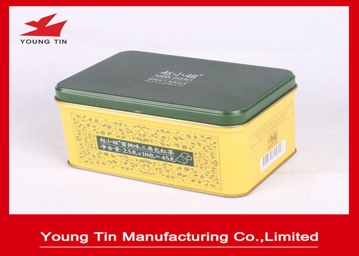 Empty Hinged Lid Rectangle Metal Tea Tins Tinplate Material With CMYK Printing