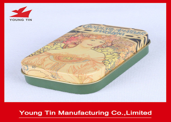 Chocolate Packaging Green Candy Gift Tins , YT1239 Chocolate Gift Boxes With CMYK Printed Lids