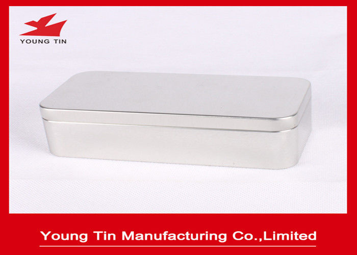 Plain Color Rectangle Empty Metal Tea Tins , 0.23 MM Recyclable Tinplate Container Box