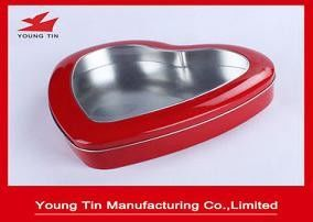 Red Color Metal Tinplate Tin Box Wedding Gift Packaging With Clear PVC Window On Top
